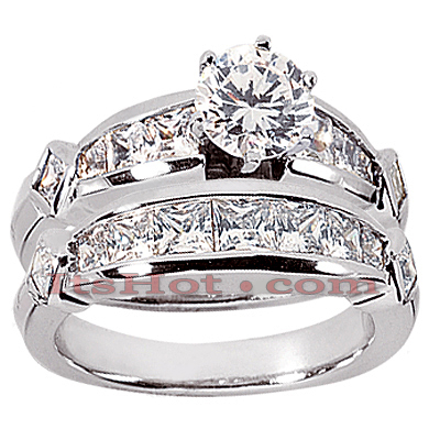 14K Gold Diamond Designer Engagement Ring Set 3.22ct Main Image