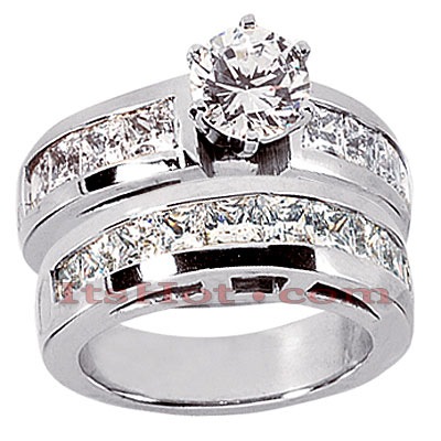 14K Gold Diamond Designer Engagement Ring Set 3.42ct Main Image