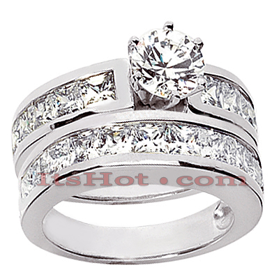 14K Gold Diamond Designer Engagement Ring Set 3.44ct Main Image
