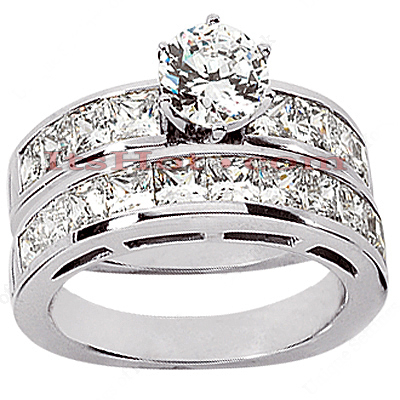 14K Gold Diamond Designer Engagement Ring Set 3.56ct Main Image