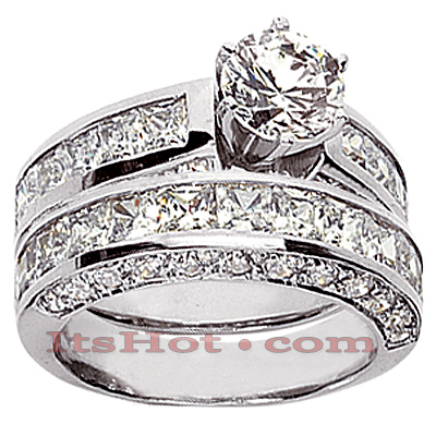 14K Gold Diamond Designer Engagement Ring Set 4.52ct  Main Image