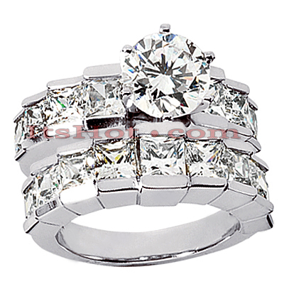 14K Gold Diamond Designer Engagement Ring Set 5.25ct
