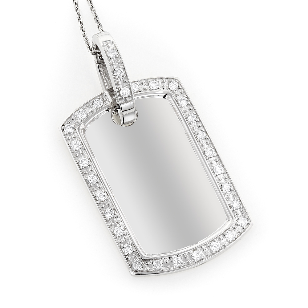 14K Gold Diamond Dog Tag Military Pendant 0.70ct White Image