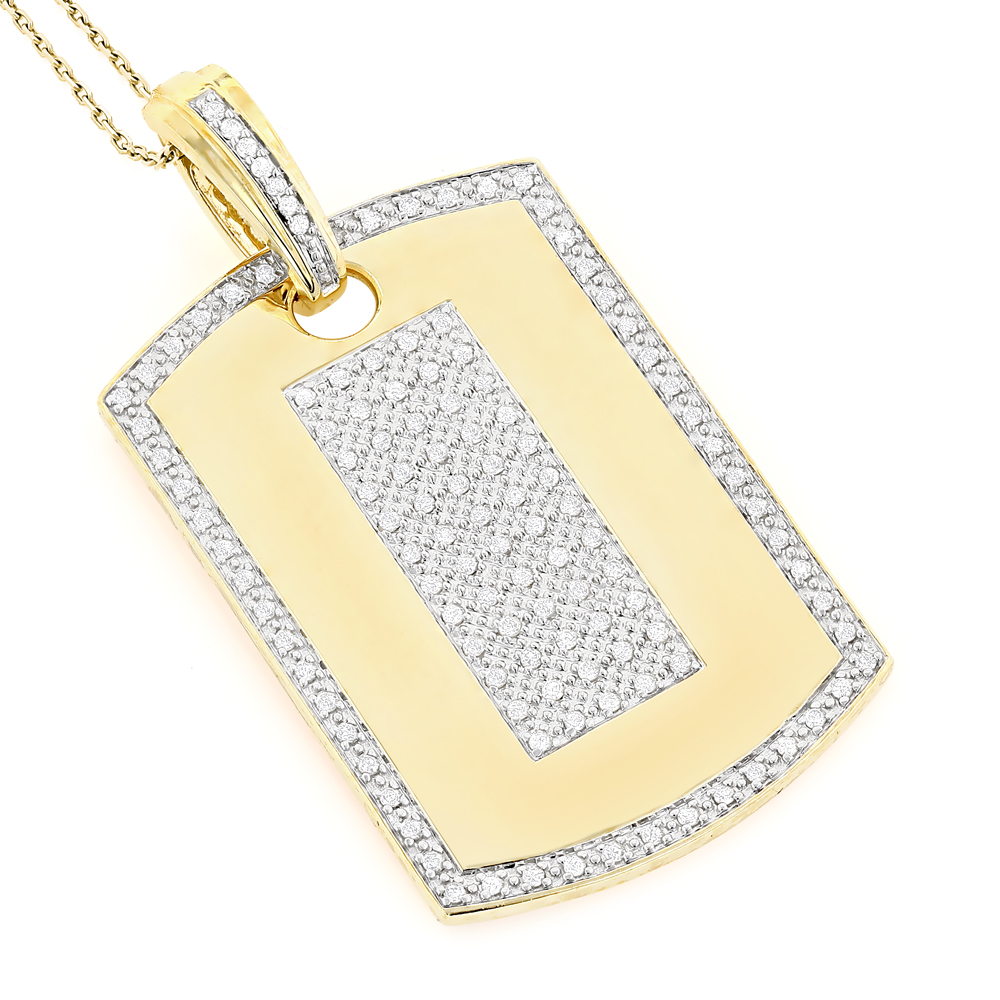 14K Gold Diamond Dog Tag Military Pendant 1.95ct