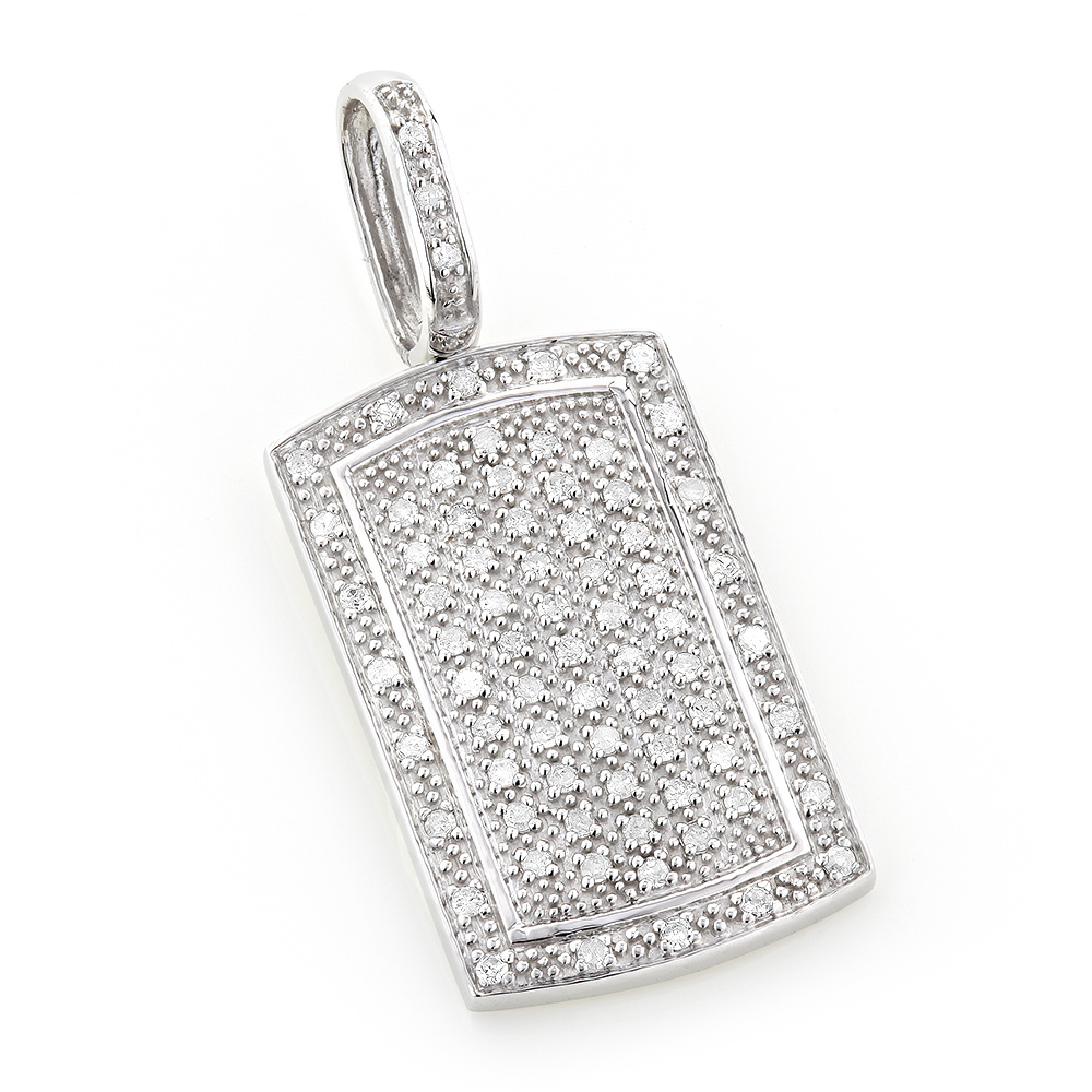 14K Gold Diamond Dog Tag Pendant Round Diamonds 0.5ct White Image