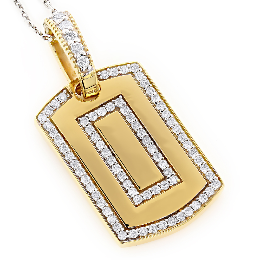 Small 14K Gold Diamond Dog Tag Pendant Round Diamonds 0.87ct