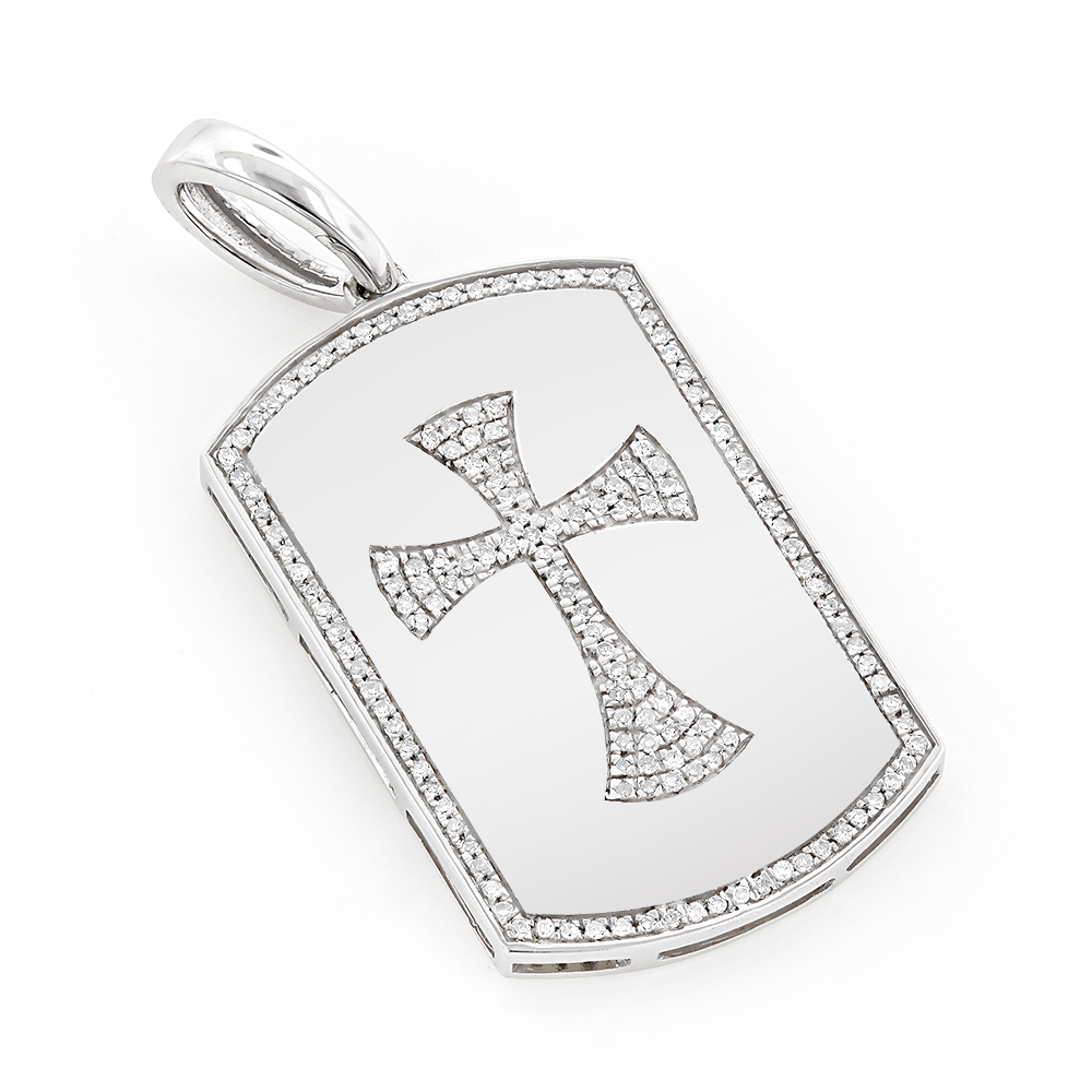 14K Gold Diamond Dog Tag Pendant with Celtic Cross 0.33ct White Image
