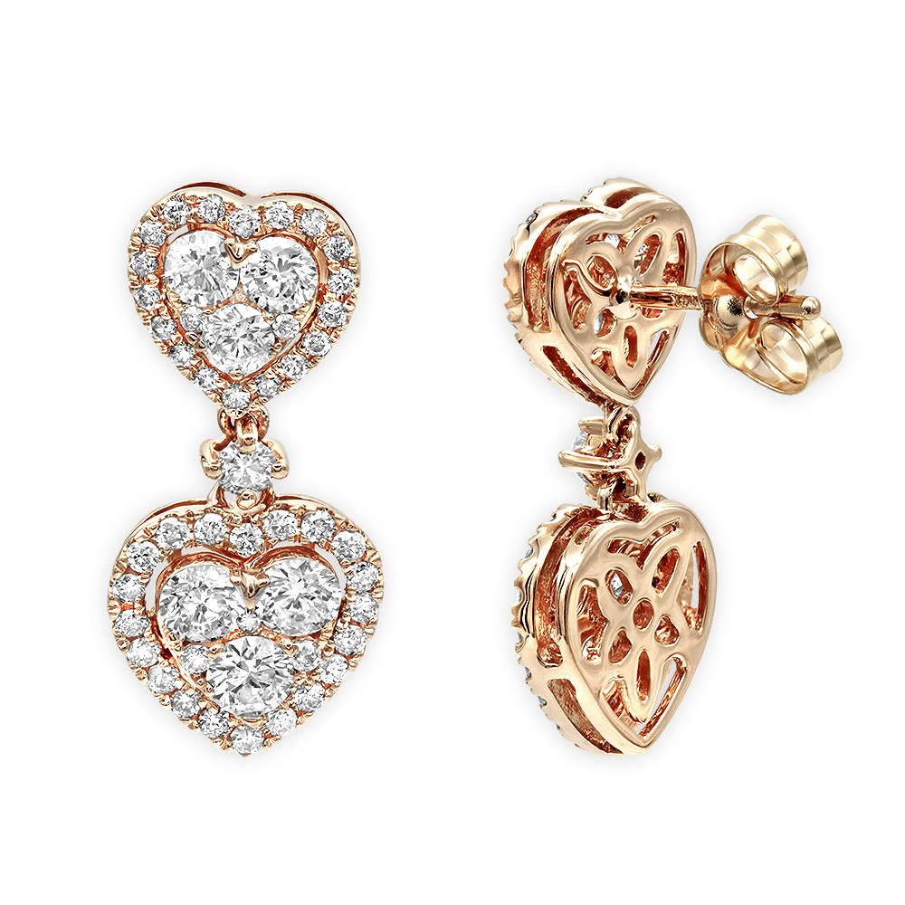 14K Gold Diamond Double Heart Drop Earrings for Women 1.7ct by Luxurman Rose Image