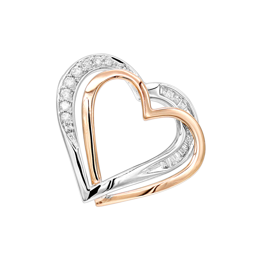 14K Gold Diamond Double Heart Ladies Pendant 0.16ct by Luxurman White Image