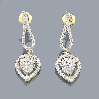 14K Gold Diamond Drop Earrings 0.42ct Main Image