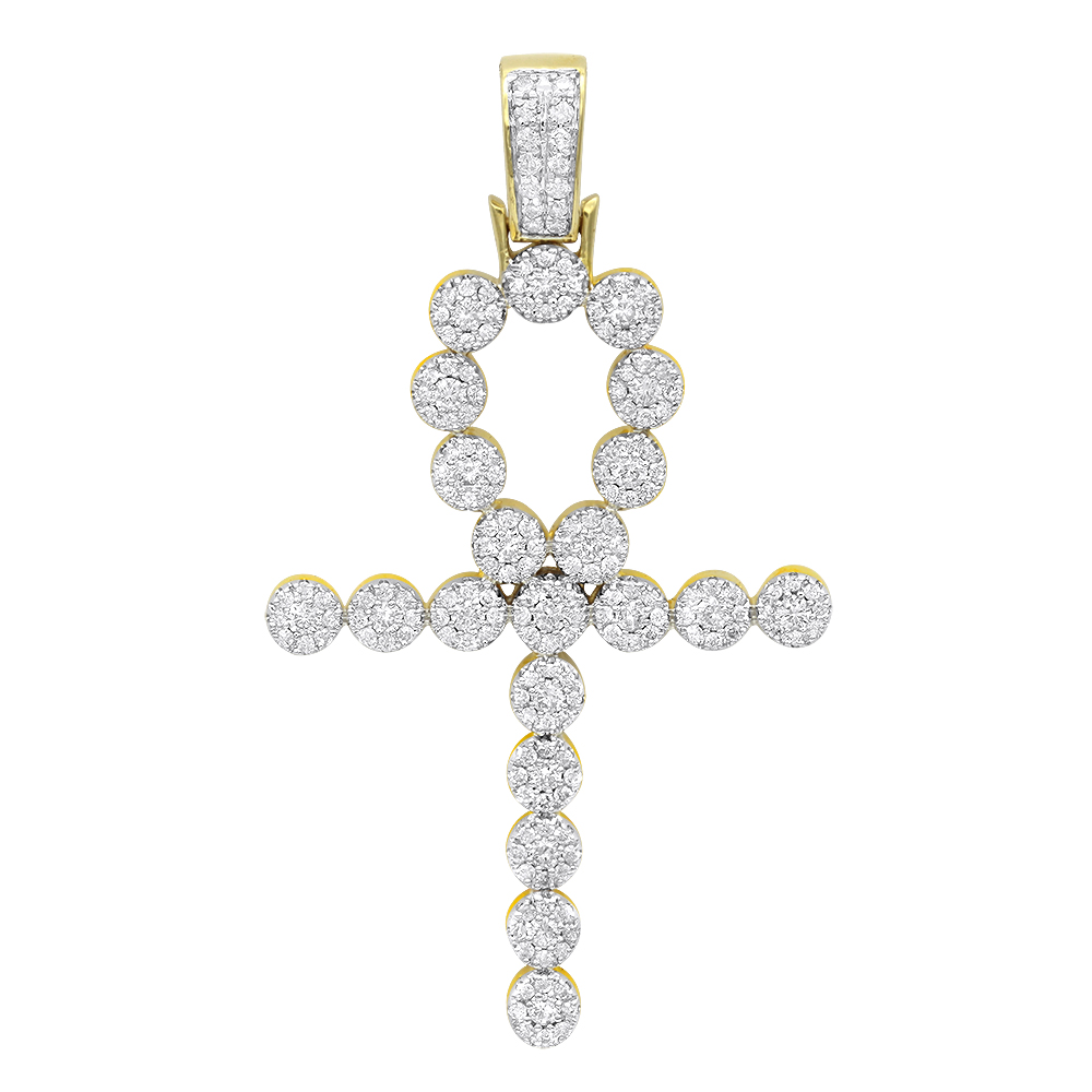14K Gold Diamond Egyptian Ankh Cross Pendant 1 Carat by Luxurman Yellow Image