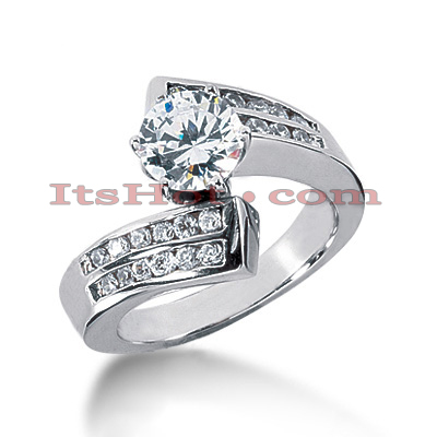 14K Gold Diamond Engagement Ring 0.98ct