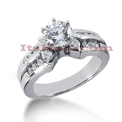 Handmade 14K Gold Round Diamond Engagement Ring 0.98ct Main Image