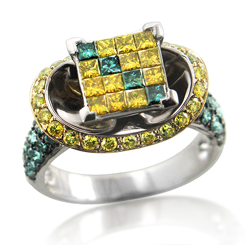 Unique 14k Gold Yellow and Blue Diamond Engagement Ring 2.64ct.