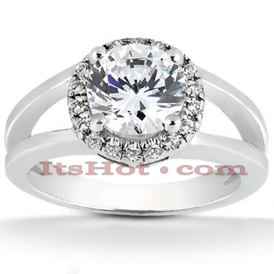 Halo 14K Gold Diamond Engagement Ring Mounting 0.10ct