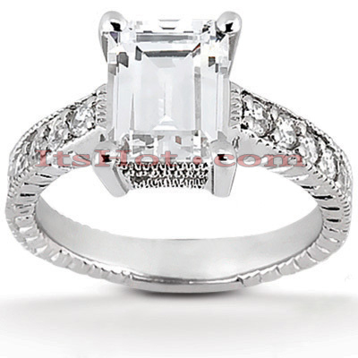 14K Gold Prong Set Diamond Engagement Ring Mounting 0.10ct