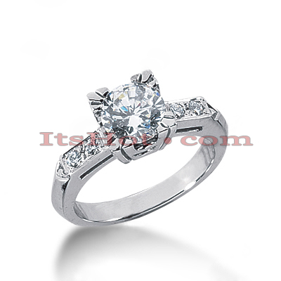 14K Gold Prong and Channel Set Diamond Engagement Ring Mounting 0.10ct Main Image