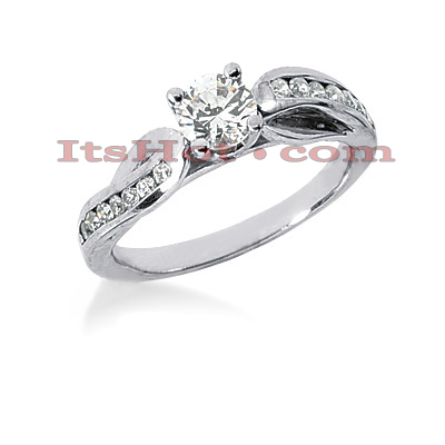 14K Gold Prong and Channel Set Diamond Engagement Ring Mounting 0.15ct Main Image