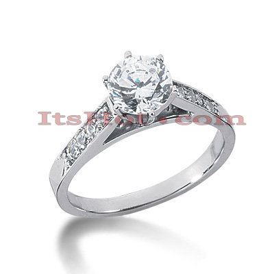 14K Gold Prong and Channel Set Diamond Engagement Ring Mounting 0.16ct