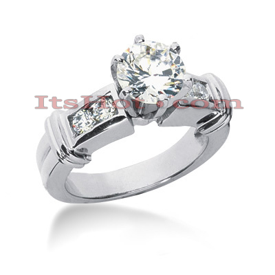 14K Gold Channel and Prong Diamond Engagement Ring Mounting 0.16ct