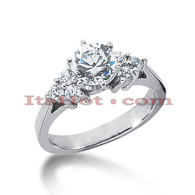 14K Gold Round Diamond Engagement Ring Mounting 0.18ct Main Image