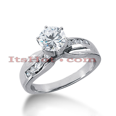 14K Gold Prong and Channel Set Diamond Engagement Ring Mounting 0.20ct