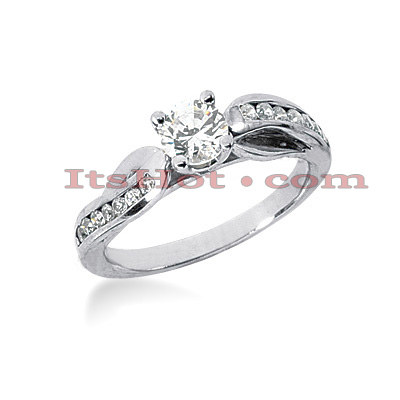 14K Gold Diamond Prong and Channel Set Engagement Ring Mounting 0.20ct