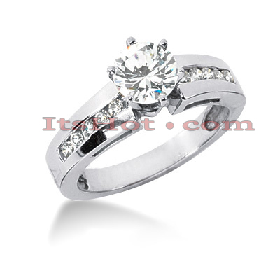 14K Gold Channel and Prong Set Diamond Engagement Ring Mounting 0.20ct Main Image