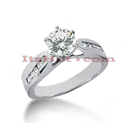 14K Gold Handmade Channel and Prong Set Diamond Engagement Ring Mounting 0.20ct Main Image