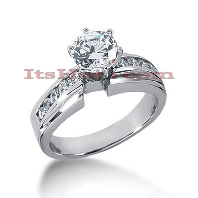 14K Gold Channel and Prong Set Diamond Engagement Ring Mounting 0.24ct
