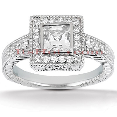 Halo 14K Gold Diamond Engagement Ring Mounting 0.27ct