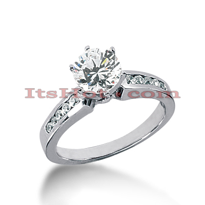 14K Gold Prong and Channel Set Diamond Engagement Ring Mounting 0.28ct Main Image