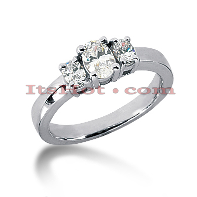 14K Gold Oval Diamond 3 Stone Engagement Ring Mounting 0.30ct