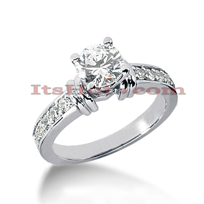 14K Gold Diamond Prong and Channel Set Engagement Ring Mounting 0.30ct