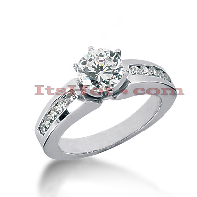 14K Gold Diamond Channel and Prong Set Engagement Ring Mounting 0.30ct Main Image