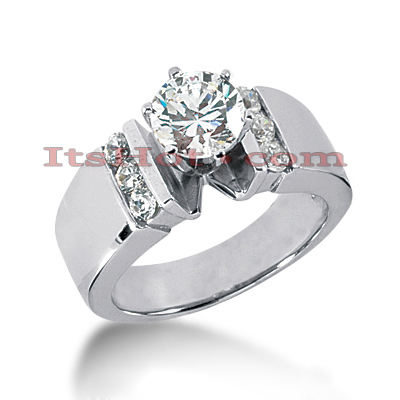 Prong and Channel Set 14K Gold Diamond Engagement Ring Mounting 0.30ct Main Image