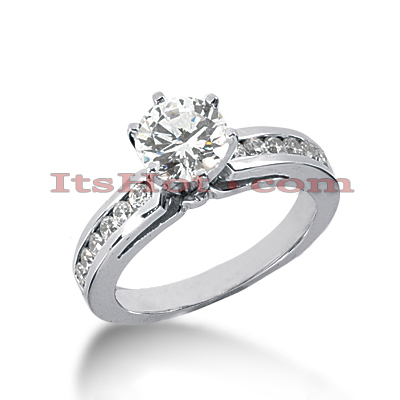 Channel and Prong Set 14K Gold Diamond Engagement Ring Mounting 0.30ct