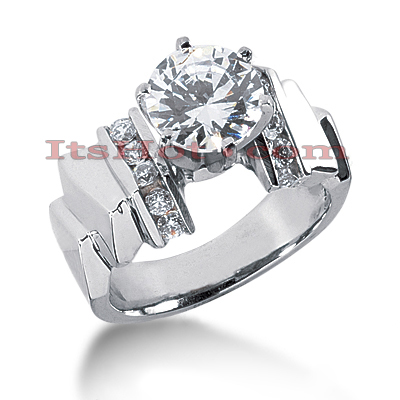 14K Gold Designer Prong and Channel Set Diamond Engagement Ring Mounting 0.30ct Main Image