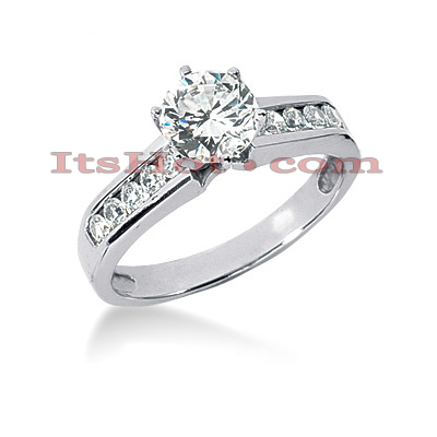 Prong and Channel Set Handmade 14K Gold Diamond Engagement Ring Mounting 0.30ct Main Image
