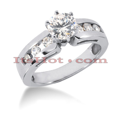 14K Gold Round Diamond Prong and Channel Set Handmade Engagement Ring Mounting 0.30ct Main Image