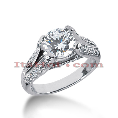 14K Gold Diamond Handcrafted Engagement Ring Mounting 0.31ct