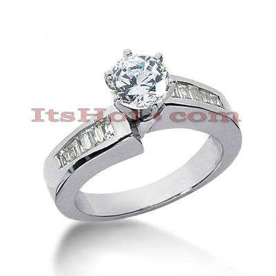 14K Gold Prong and Channel Set Diamond Engagement Ring Mounting 0.32ct