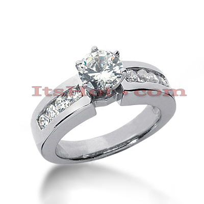14K Gold Diamond Prong and Channel Set Engagement Ring Mounting 0.32ct Main Image