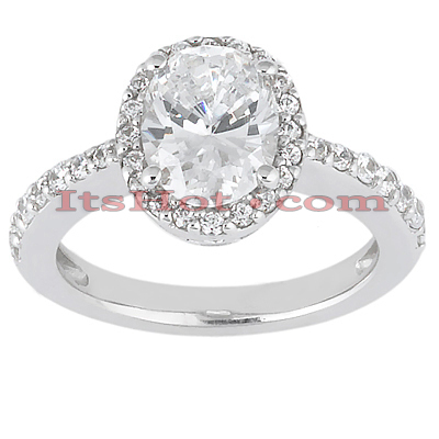 Halo 14K Gold Diamond Engagement Ring Mounting 0.34ct
