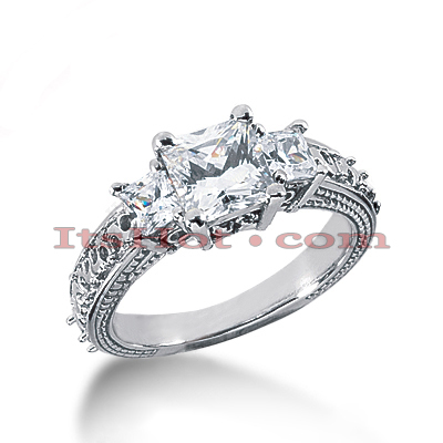 14K Gold Diamond Engagement Ring Mounting Handcrafted 0.34ct