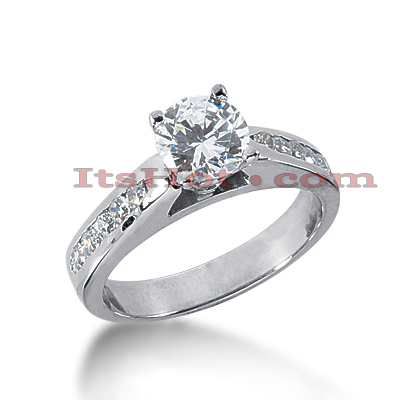14K Gold Prong and Channel Set Diamond Engagement Ring Mounting 0.36ct Main Image