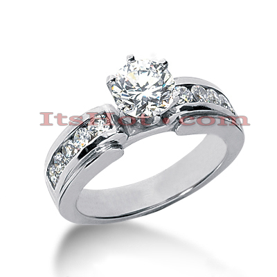 14K Gold Prong and Channel Set Engagement Ring Mounting 0.36ct