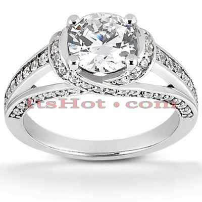 14K Gold Handmade Diamond Engagement Ring Mounting 0.39ct Main Image