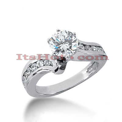 14K Gold Channel and Prong Set Diamond Engagement Ring Mounting 0.40ct Main Image