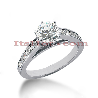 14K Gold Diamond Prong and Channel Set Engagement Ring Mounting 0.40ct